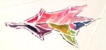 Sugar maple leaf, white line woodcut, gouache on paper, monoprint, 5 x 7 inches