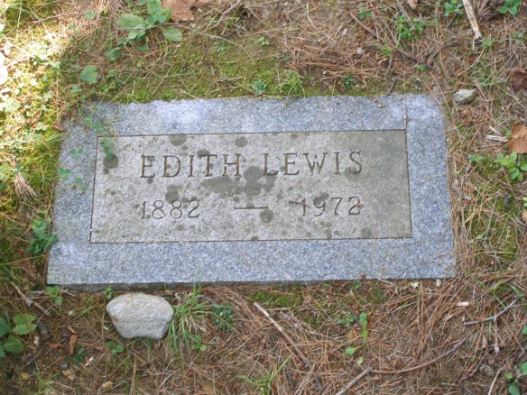 Photo of the grave marker of Edith Lewis
