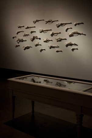 Angelfire, 2009-10, bones, ceramic, cloth. Naturally Disturbed, installation detail, SASA Gallery, 2010.