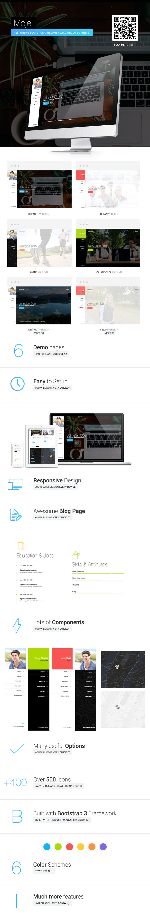Moje. - Responsive Bootstrap Personal Resume vCard HTML/CSS Theme - 2