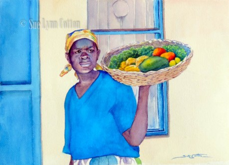 African Woman with Fruit Basket $99