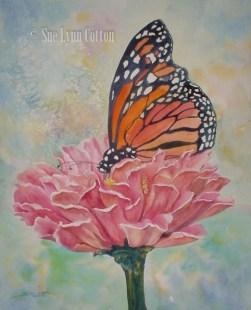 Butterfly w/Pink Zinnia $125