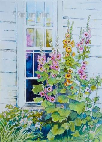 Garden Scene Pen & Ink w/Watercolor $99