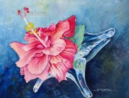 Red Hibiscus in Glass $99