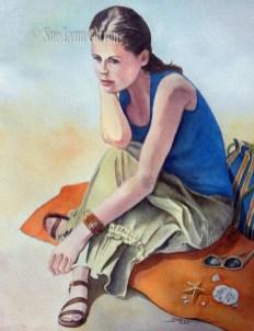 Woman on Beach Blanket $99