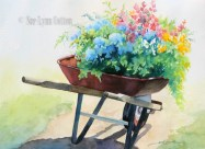red wheelbarrow of flowers $99