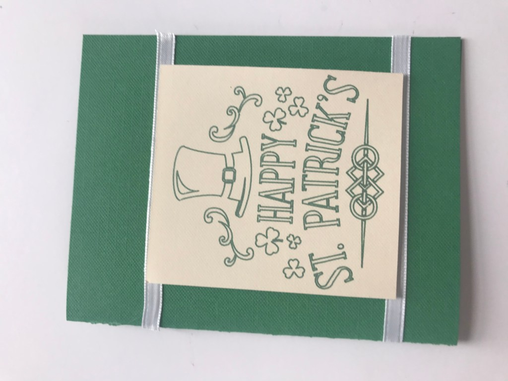 St. Patrick's Day card with the Cricut image as the center piece.