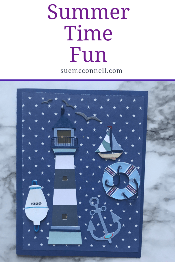 Fun summer handmade card with few supplies and expense. It can be made to give to your hostess for a thank you for being invited.