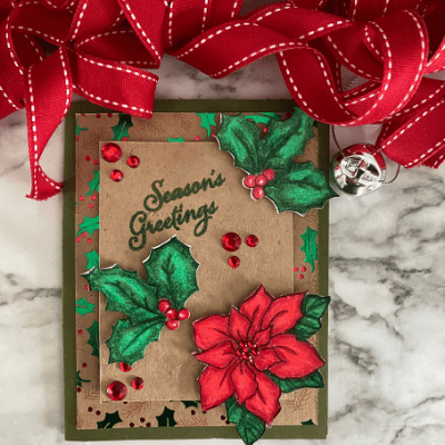 Colorful colored Poinsettia Christmas Card
