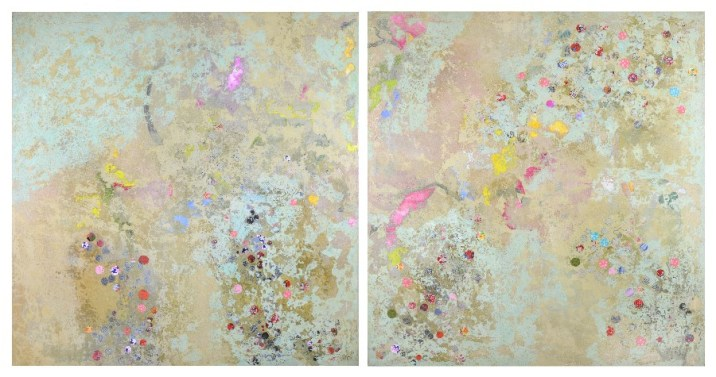 Diptych, made at St Paul's Cathedral (192 x 102cm, oil and mixed media on canvas, 2004)