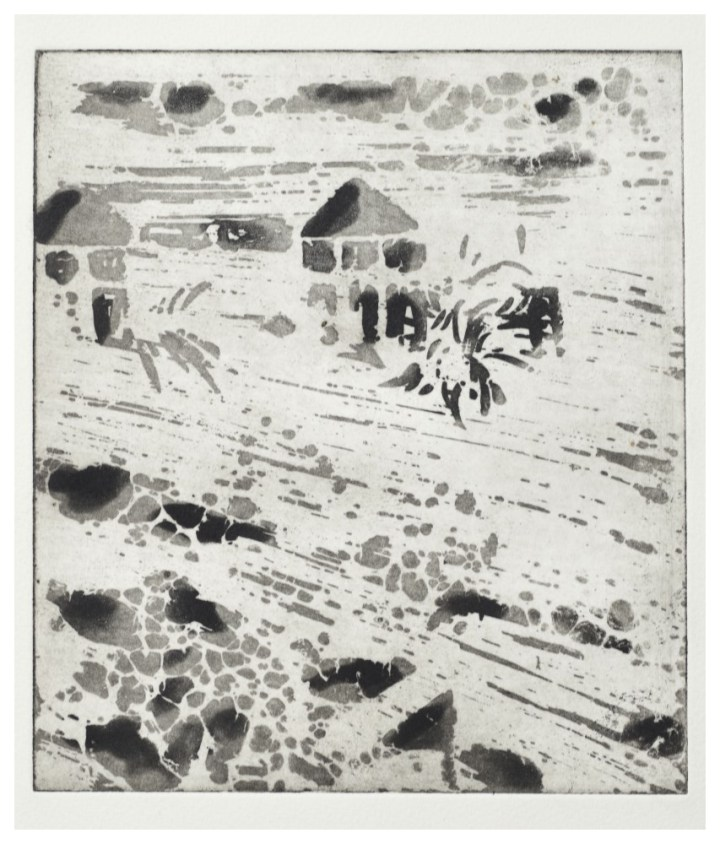 'Village' (20 x 25cm, etching, 2013) edition of 1 at £120