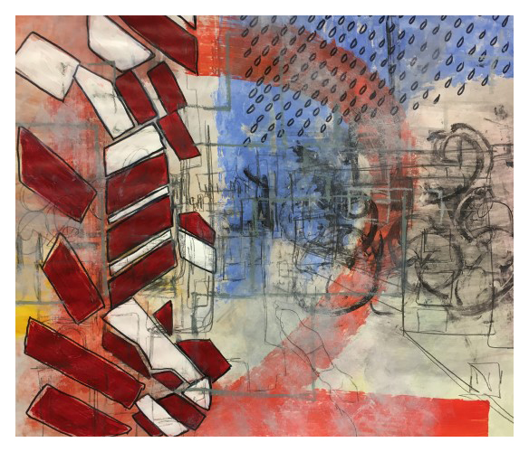 'Road' (87 x 67cm, acrylic & mixed media on paper 2019) £350