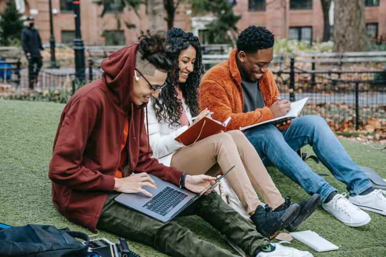 cheerful diverse classmates studying in park
