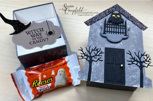 Craft a spooky cute Haunted House treat box for Halloween created with the Stampin' Up! Tombstone Treat Boxes and the Frightfully Cute Bundle.