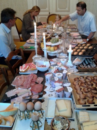 The groaning breakfast table at Les Glantines, photo Sue Style