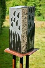 Rain Storm -basalt on steel with granite - SOLD
