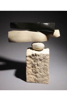 Weathervane - granite, limestone, beach rock, bearings on limestone SOLD