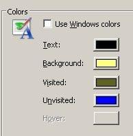 internet colours menu