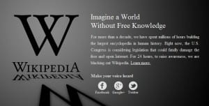 Wikipedia blacked out in protest against SOPA and PIPA