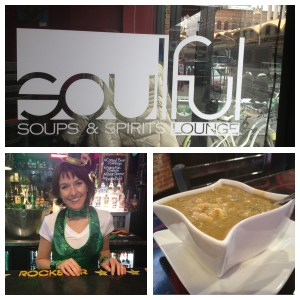 When I found a place that serves a variety of soups, I made it a regular stop.  Lauren always has a smile, albeit a bit green today.
