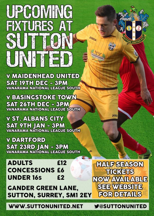 Sutton United Upcoming Fixtures