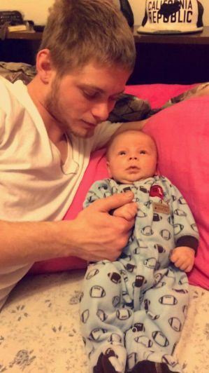 Dillon Arispe with baby Eli Arispe-Hentges