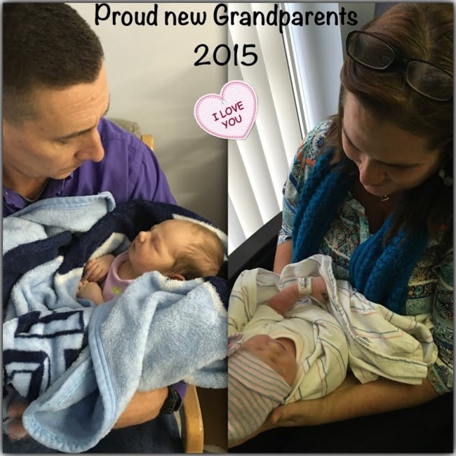 Kevin and Diane Littell each holding granddaughter Ava