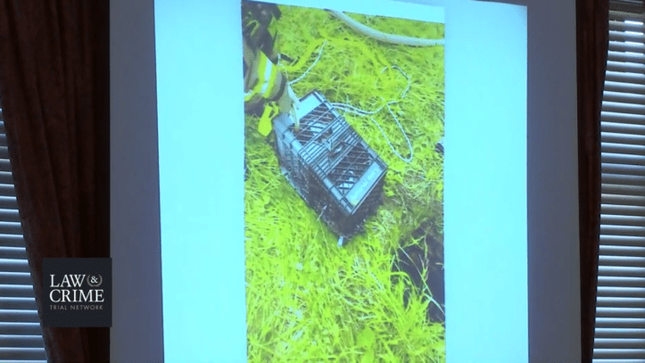 Groves trial: Evidence photo: the two milk crates lashed together that formed Dylan's crude vessel.