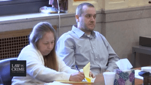 Groves trial: Jessica Groves takes notes as Daniel watches the proceedings.