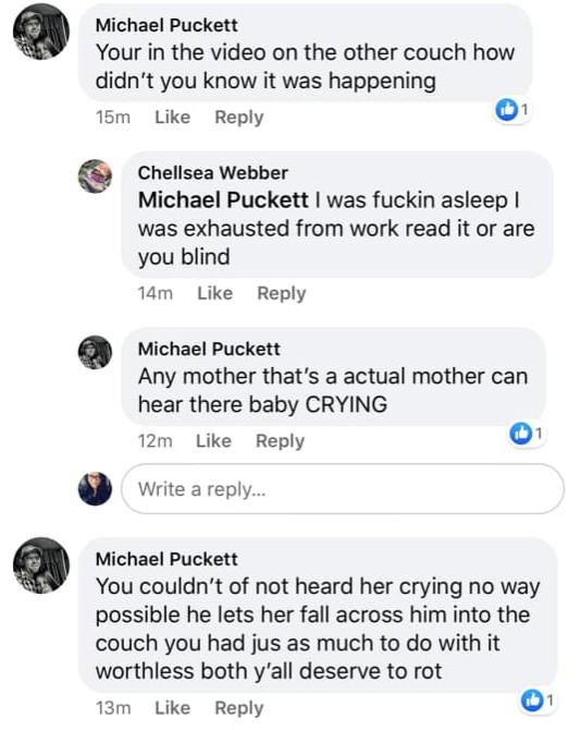 Chellsea Webber's friends question her on Facebook.