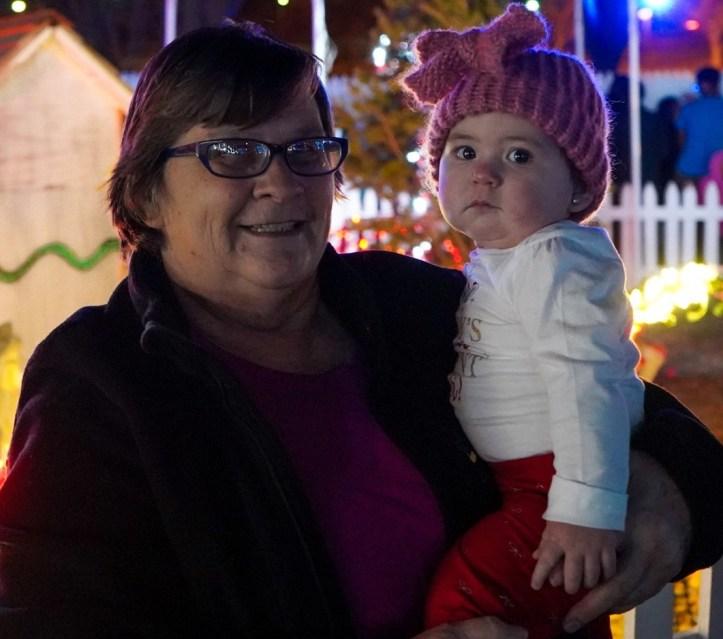 """Baby Marion Jester-Montoya held by Grandma Sheilah """"Katie"""" Montoya"""
