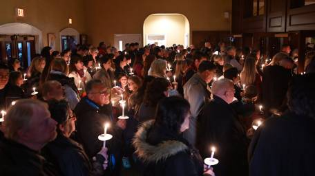 Mourners at vigil for Thomas Valva