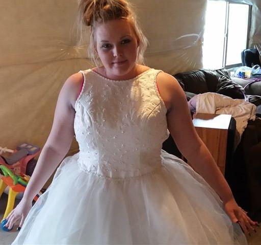 Beverly Hueston in a wedding dress