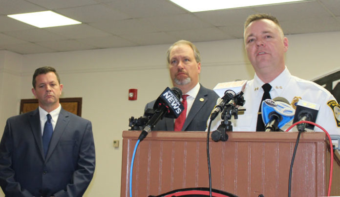 (Left to right) Port Jervis Mayor Kelly Decker; Orange County District Attorney David Hoovler; Port Jervis Police Chief William Worden giving a press conference about Nicole Layman's arrest.