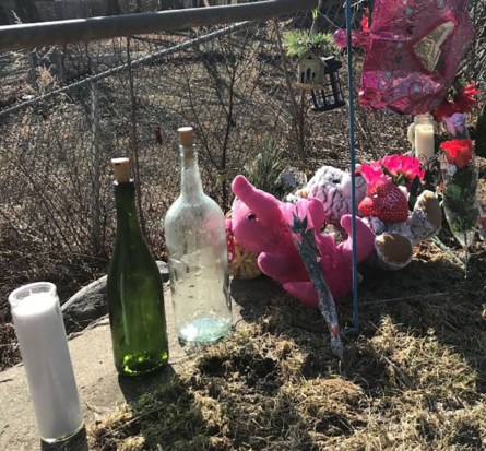 Makeshift memorial to Sophia Grace Hadden