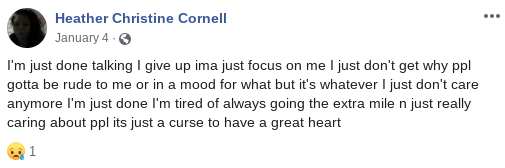 Heather Christine Cornell/Nicole Layman Facebook post about having a great heart