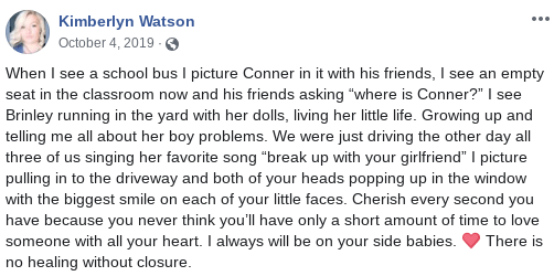 Kimberlyn Watson Facebook post about Conner and Brinley Snyder