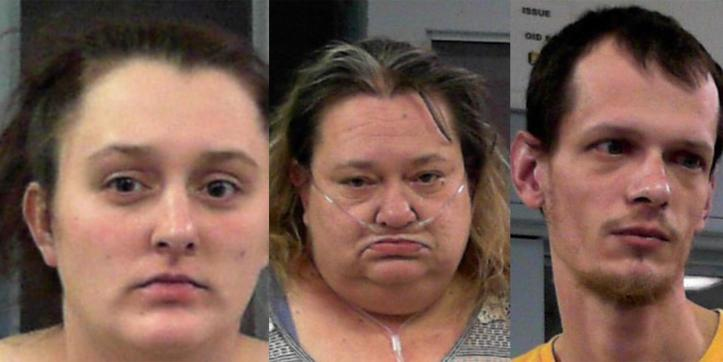 Chasity Wodzinski, Michelle Boggs, and PJ Wodzinski in their booking photos