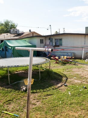 The backyard of the Phoenix house where Ame Deal died. (AZ Central)