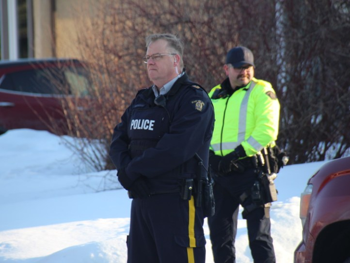 RCMP watch Protesters against Damien Starrett being released on bail