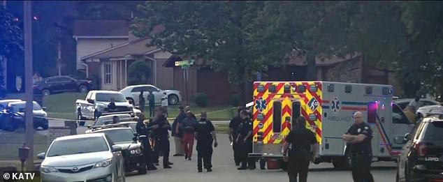 Police activity outside the crime scene on Karan Court in Little Rock, Arkansas where Jorden Roberts was shot and killed by Brent Martin