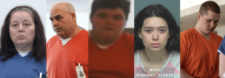 Patricia Batts, James Sasser Jr., James Sasser III, Madison Sasser, and Gage Roush accused in the murder of Alex Hurley on Suffer the Little Children Blog