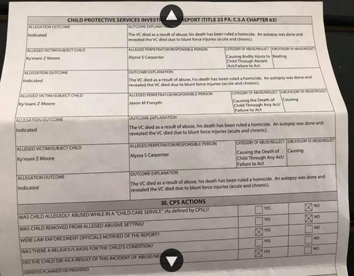 CYS report indicating abuse of Ky'mani Moore by Jason Forsyth and Alyssa Carpenter