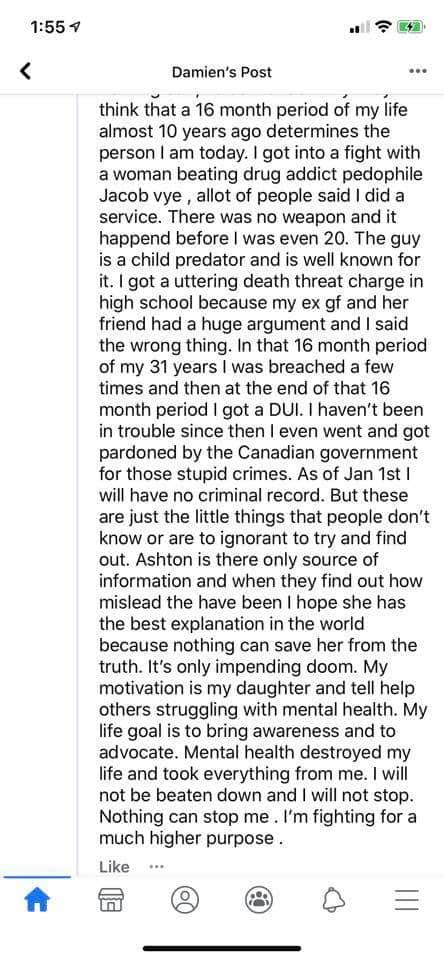 Damien Starrett Facebook rant