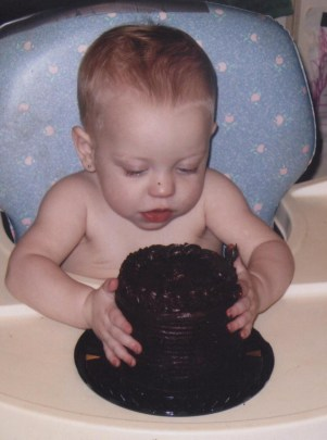 Lauren McConniel with first birthday cake