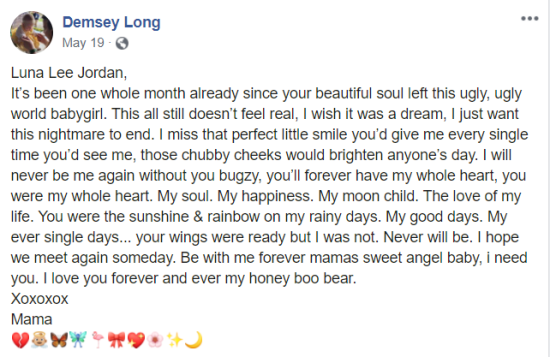 Demsey Long May 19 Facebook post