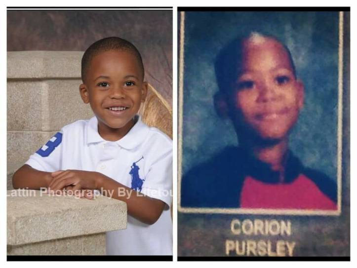 Jaheem Harris next to school photo of father Corion Pursley