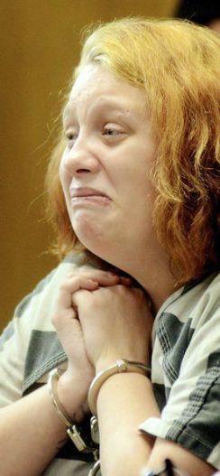 Kelsie Blankenship grimacing in court