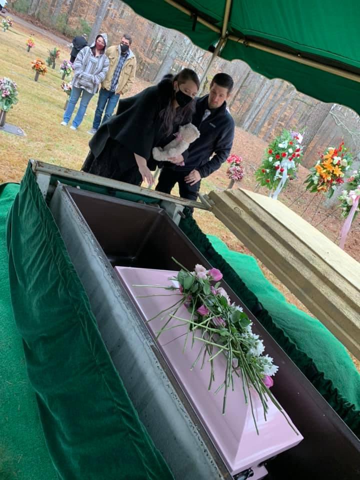Kristin Fridley Gantt and Cameron Gantt at Fallon Fridley's burial