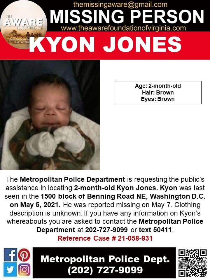 Kyon Jones missing poster - FB